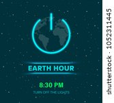 earth hour concept with neon... | Shutterstock .eps vector #1052311445