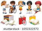 kids reading books on white... | Shutterstock .eps vector #1052322572