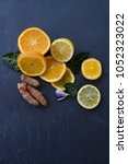 flat lay of oranges lemons and... | Shutterstock . vector #1052323022
