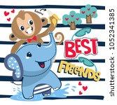 cute cartoon baby monkey and... | Shutterstock .eps vector #1052341385