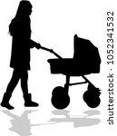 mother walks with the child in... | Shutterstock .eps vector #1052341532