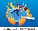 businessman on hot pan | Shutterstock .eps vector #1052347478