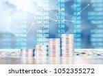 coin stacks   business money... | Shutterstock . vector #1052355272