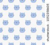 seamless pattern  cat art ...   Shutterstock .eps vector #1052358605
