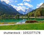 jasna lake in julian alps ... | Shutterstock . vector #1052377178