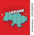 pop art map of ukraine   Shutterstock .eps vector #1052384942