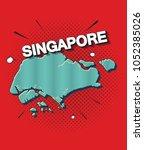 pop art map of singapore   Shutterstock .eps vector #1052385026