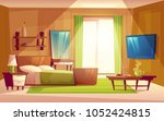 vector cartoon interior of cozy ... | Shutterstock .eps vector #1052424815