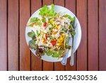 top view of fresh garden salad... | Shutterstock . vector #1052430536