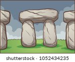 stonehenge cartoon background.... | Shutterstock .eps vector #1052434235
