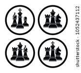 vector chess piece set icons... | Shutterstock .eps vector #1052437112
