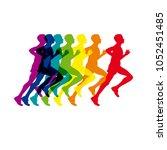 vector logo man running  sport... | Shutterstock .eps vector #1052451485