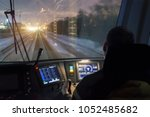 view from the driver's cab of... | Shutterstock . vector #1052485682