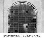 broken russian factory window... | Shutterstock . vector #1052487752
