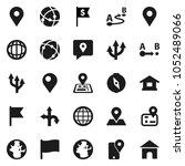 flat vector icon set   compass... | Shutterstock .eps vector #1052489066