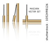 mascara gold tubes with brushes ... | Shutterstock .eps vector #1052498126