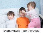 funny children mess around... | Shutterstock . vector #1052499932