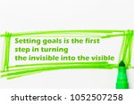setting goals is the first step ... | Shutterstock . vector #1052507258