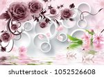 Stock photo rose flowers on d white circle background with duck wallpaper for walls 1052526608