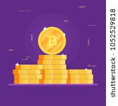 golden bitcoins on purple... | Shutterstock .eps vector #1052529818
