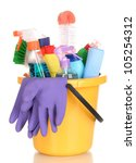 cleaning items in bucket... | Shutterstock . vector #105254312