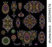 bright bohemian ethnic cliche... | Shutterstock .eps vector #1052544176