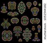 bright bohemian ethnic cliche... | Shutterstock .eps vector #1052544182