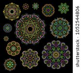 bright round ethnic cliche with ... | Shutterstock .eps vector #1052544806
