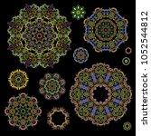 bright round ethnic cliche with ... | Shutterstock .eps vector #1052544812