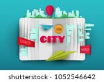 vector paper cut open book with ... | Shutterstock .eps vector #1052546642