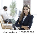 young business woman on the... | Shutterstock . vector #1052552636