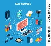 data analysis isometric... | Shutterstock .eps vector #1052554112
