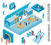 isometric set with passengers... | Shutterstock .eps vector #1052554208