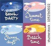 funny summer beach banners  ... | Shutterstock .eps vector #1052563022