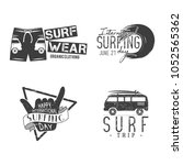 vintage surfing graphics and... | Shutterstock .eps vector #1052565362