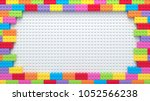 frame of colorful toy bricks on ... | Shutterstock . vector #1052566238