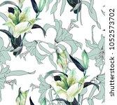 watercolor white and decorative ... | Shutterstock . vector #1052573702