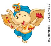 ganesha elephant cartoon vector ... | Shutterstock .eps vector #1052574872