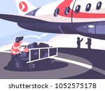 loading of luggage in plane.... | Shutterstock .eps vector #1052575178