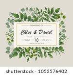 wedding invitation  rsvp modern ... | Shutterstock .eps vector #1052576402