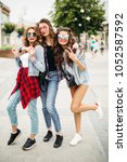 full length of stylish trendy... | Shutterstock . vector #1052587592