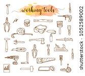 set of working tools  doodle... | Shutterstock . vector #1052589002
