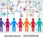 people holding hands under ... | Shutterstock .eps vector #105260456