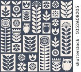 scandinavian folk art seamless... | Shutterstock .eps vector #1052608205