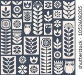 scandinavian folk art seamless... | Shutterstock .eps vector #1052608205