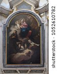 Small photo of MANTUA, ITALY - JUNE 04: Virgin and Child adored by St. Francis of Assisi, Clare and Anthony of Padua, altarpiece in Clare d'Assisi chapel, Mantua Cathedral, Mantua, Italy on June 04, 2017.