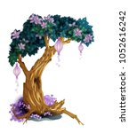 magic tree with flowers isolated   Shutterstock .eps vector #1052616242