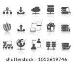 black network server hosting... | Shutterstock .eps vector #1052619746