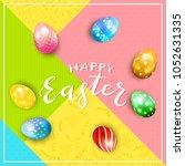 multicolored easter eggs on...   Shutterstock .eps vector #1052631335