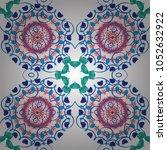 unique asian pattern in blue ... | Shutterstock .eps vector #1052632922
